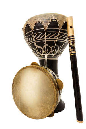 accoustic: Traditional musical instument Djembe drum, tambourine and flute isolated on white background