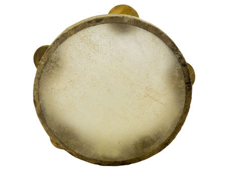 accoustic: Traditional musical instument egyptian tambourine made of camel skin isolated on white background