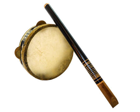 accoustic: Traditional musical instument Djembe drum and flute isolated on white background