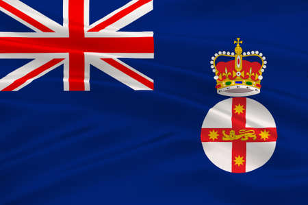 nsw: Flag of New South Wales (NSW) is a state on the east coast of Australia. 3d illustration