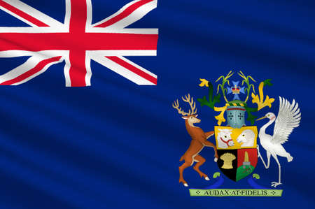 qld: Flag of Queensland (Qld) is the second-largest and third-most-populous state in Australia. 3d illustration