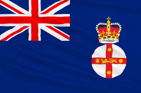 new south wales: Flag of New South Wales (NSW) is a state on the east coast of Australia. 3d illustration