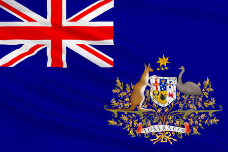 melbourne australia: Flag of Australia is an Oceanian country comprising the mainland of the Australian continent, the island of Tasmania and numerous smaller islands. 3d illustration