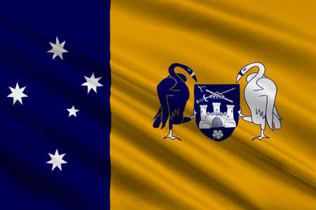 Canberra: Flag of Australian Capital Territory (ACT) - Canberra is a territory in the south east of Australia, enclaved within New South Wales. 3d illustration