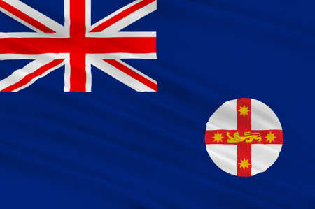 wales: Flag of New South Wales (NSW) is a state on the east coast of Australia. 3d illustration