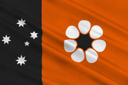 queensland: Flag of Northern Territory (NT) is a federal Australian territory in the centre and central northern regions. 3d illustration