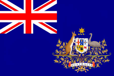Flag of Australia is an Oceanian country comprising the mainland of the Australian continent, the island of Tasmania and numerous smaller islands. 3d illustration