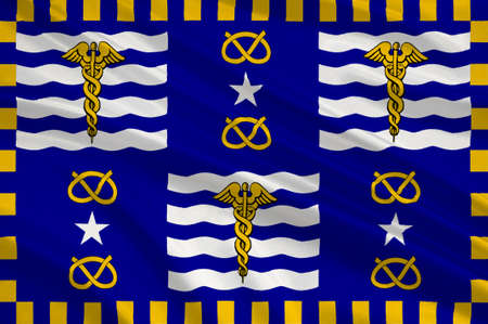 Flag of Brisbane is the capital and most populous city in the Australian state of Queensland, and the third most populous city in Australia. 3d illustration