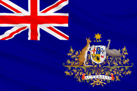 mainland: Flag of Australia is an Oceanian country comprising the mainland of the Australian continent, the island of Tasmania and numerous smaller islands. 3d illustration