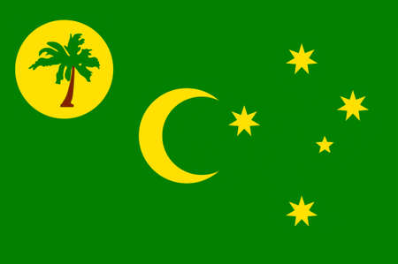 Flag of Territory of the Cocos (Keeling) Islands, also called Cocos Islands and Keeling Islands, is a territory of Australia. 3d illustration