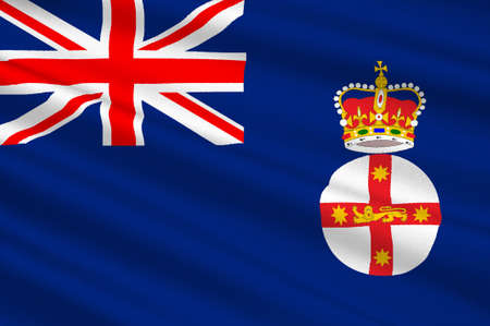 queensland: Flag of New South Wales (NSW) is a state on the east coast of Australia. 3d illustration
