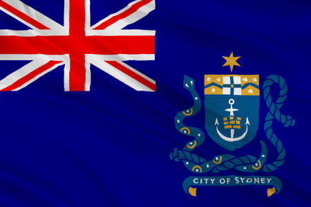 melbourne australia: Flag of Sydney is the state capital of New South Wales and the most populous city in Australia and Oceania. 3d illustration