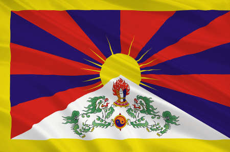 people's republic of china: Flag of Tibet Autonomous Region (TAR) or Xizang Autonomous Region, called Tibet or Xizang for short, is a province-level autonomous region of the Peoples Republic of China (PRC). 3d illustration