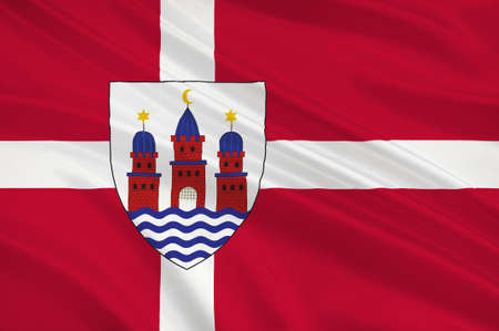 scandinavia: Flag of Denmark is a Scandinavian country in Europe. 3d illustration Stock Photo
