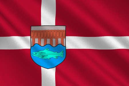 commune: Flag of Skive in Central Jutland Region in Denmark. 3d illustration Stock Photo