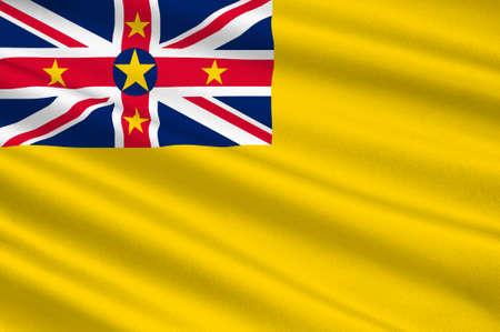 polynesia: Flag of Niue (New Zealand), Alofi - Polynesia. 3d illustration