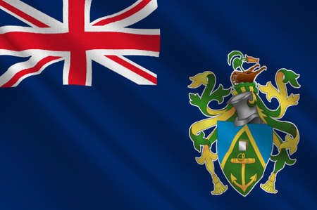 national identity: Flag of Pitcairn Islands, Adamstown - British Overseas Territory in the Pacific. 3d illustration Stock Photo