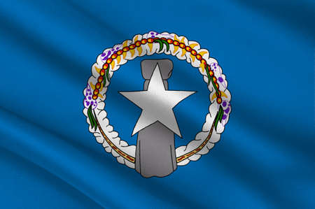 mariana: Flag of Northern Mariana Islands (USA), Saipan - Micronesia. 3d illustration