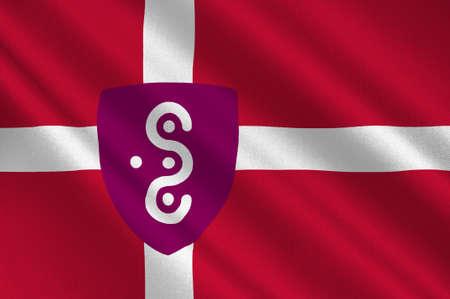 commune: Flag of Syddjurs in Central Jutland Region in Denmark. 3d illustration Stock Photo