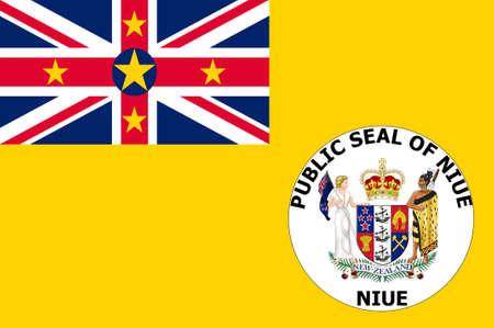 Flag of Niue (New Zealand), Alofi - Polynesia. 3d illustration
