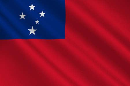 samoa: Flag of Samoa, Apia - Polynesia. 3d illustration
