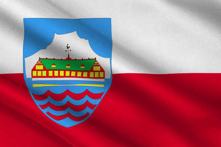 greenlandic: Flag of Nuuk is the capital and largest city of Greenland. 3d illustration