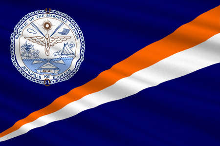 Flag of Marshall Islands, Majuro. 3d illustration