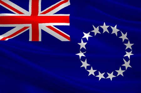 polynesia: Flag of Cook Islands (New Zealand), Avarua - Polynesia. 3d illustration Stock Photo