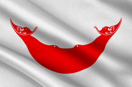 easter island: Flag of Easter island - Rapa Nui (Chile), Hanga Roa - Polynesia. 3d illustration Stock Photo