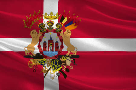 populated: Flag of Copenhagen is the capital and most populated city of Denmark. 3d illustration