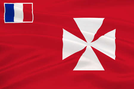 pacific ocean: Flag of Uvea is one of the three official chiefdoms (Royaume coutumiers) of the French territory of Wallis and Futuna (the other two being Sigave and Alo) in Oceania in the South Pacific Ocean. 3d illustration Stock Photo