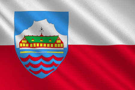nuuk: Flag of Nuuk is the capital and largest city of Greenland. 3d illustration