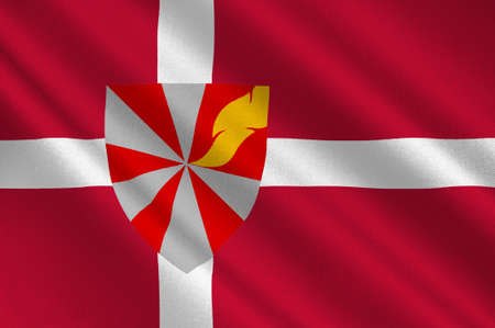 Flag of Ikast-Brande in Central Jutland Region in Denmark. 3d illustration