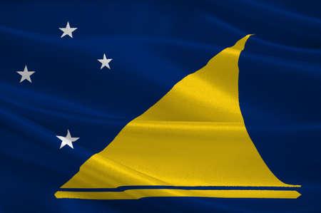 undetermined: Flag of Tokelau (New Zealand) - Polynesia. 3d illustration