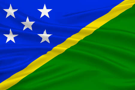 Flag of Solomon Islands, Honiara - Melanesia. 3d illustration