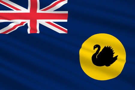 Flag of Western Australia (WA) is a state occupying the entire western third of Australia. 3d illustration Stock Photo
