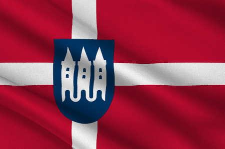 commune: Flag of Skanderborg in Central Jutland Region in Denmark. 3d illustration
