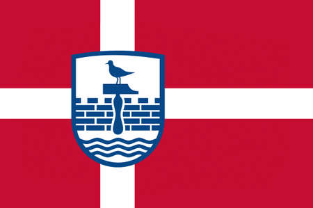 regions: Flag of Herning in Central Jutland Region in Denmark. 3d illustration