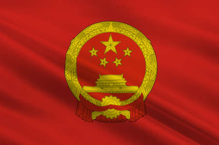 Flag of China, officially the Peoples Republic of China (PRC), is a sovereign and unitary state in Asia. 3d illustration