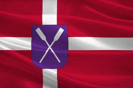 commune: Flag of Samso in Central Jutland Region in Denmark. 3d illustration