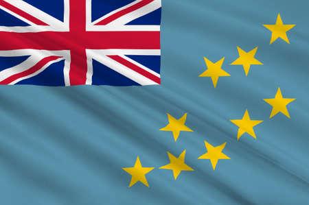 polynesia: Flag of Tuvalu, Funafuti - Polynesia. 3d illustration