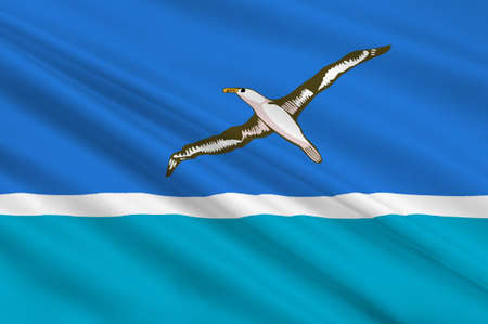 atoll: Flag of Midway Atoll island. 3d illustration