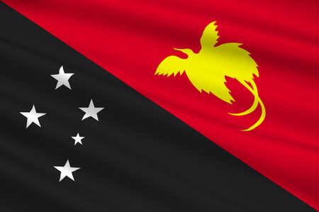 papua new guinea: Flag of Papua - New Guinea, Port Moresby, Melanesia. 3d illustration Stock Photo