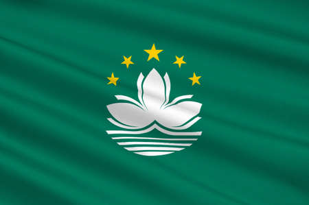 lotos: Flag of Macau also spelled Macao, officially known as the Macau Special Administrative Region of the Peoples Republic of China. 3d illustration