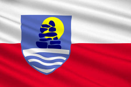 nuuk: Flag of Sermersooq municipality in Greenland. 3d illustration