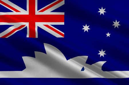 Flag of Sydney is the state capital of New South Wales and the most populous city in Australia and Oceania. 3d illustration