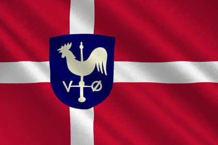 danish flag: Flag of Albertslund is a municipality in Region Hovedstaden on the island of Zealand in eastern Denmark. 3d illustration