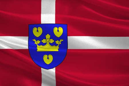 commune: Flag of Copenhagen is a municipality in Region Hovedstaden of Denmark. 3d illustration