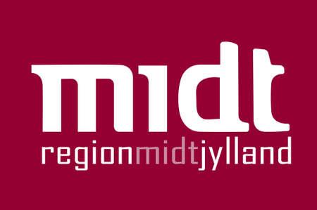 commune: Flag of Central Jutland Region in Denmark. 3d illustration