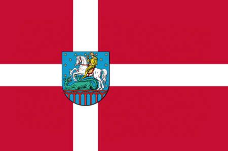 jutland: Flag of Holstebro in Central Jutland Region in Denmark. 3d illustration Stock Photo